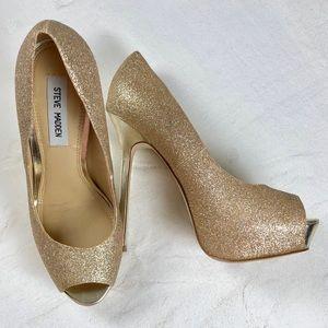 Steve Madden golden sparkle platform stiletto's